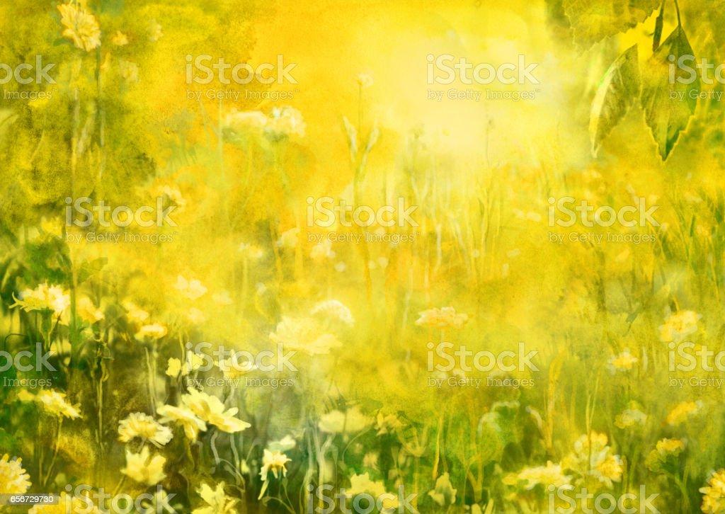 Summer sun, watercolor painting vector art illustration