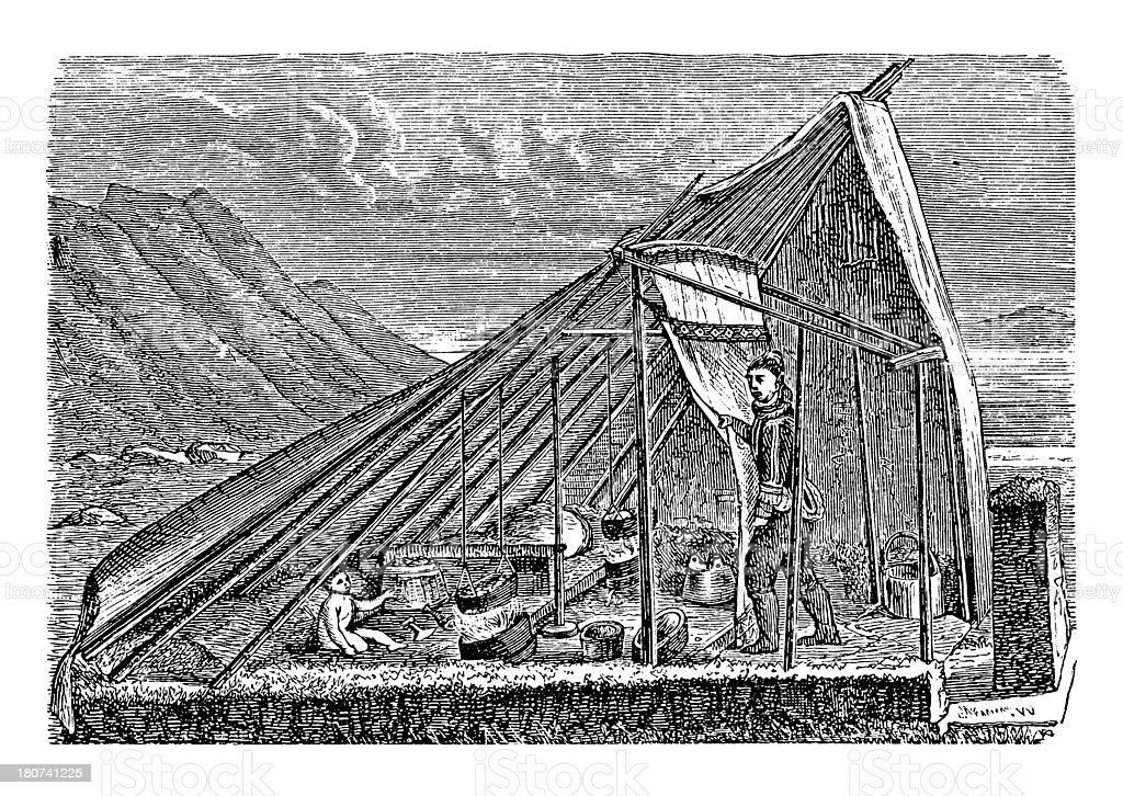 Summer tent in Tunu, Greenland (antique wood engraving) royalty-free stock vector art