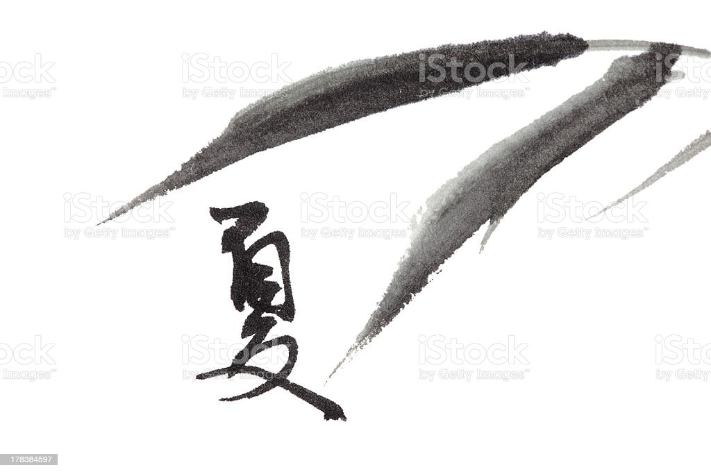summer text and bamboo leaf , chinese calligraphy royalty-free stock vector art