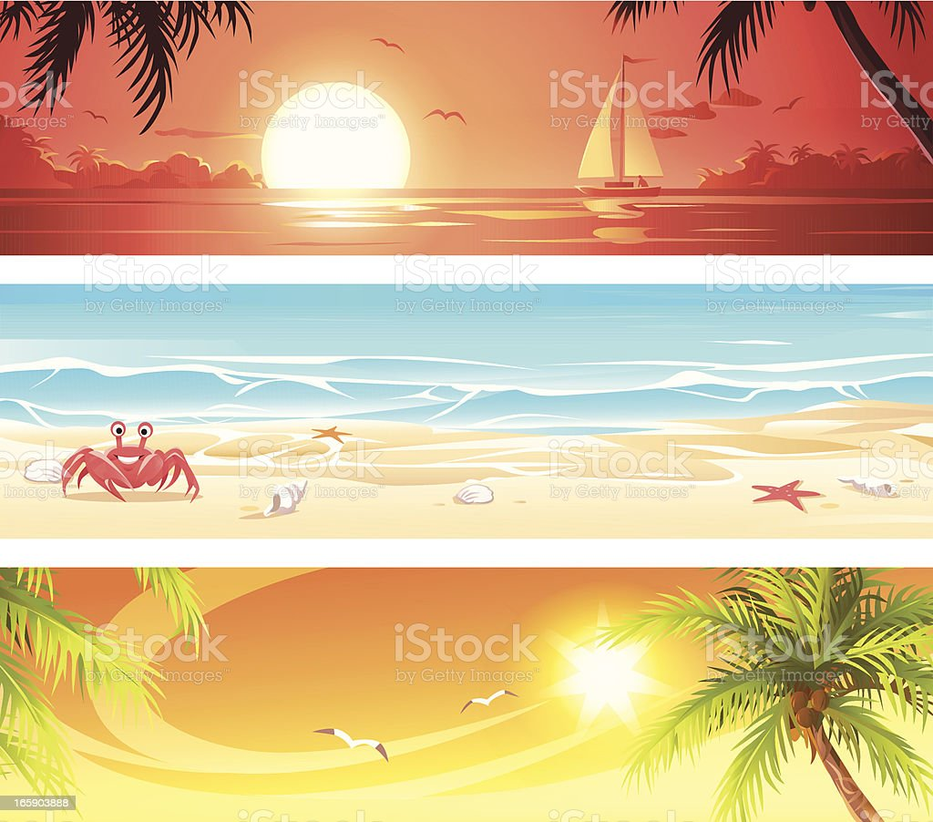 Summer Travel Destinations Banners 2 royalty-free stock vector art