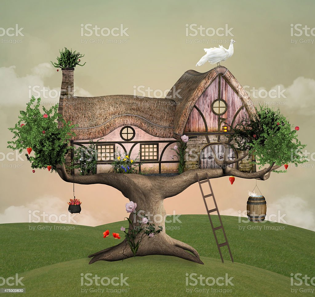Summer tree house vector art illustration