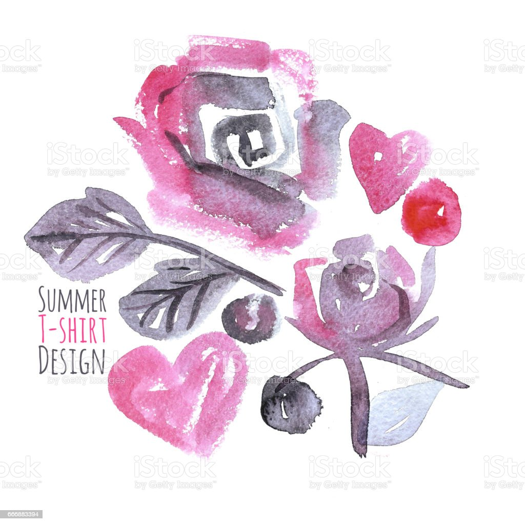 Summer T-shirt Design with Watercolor Roses stock photo