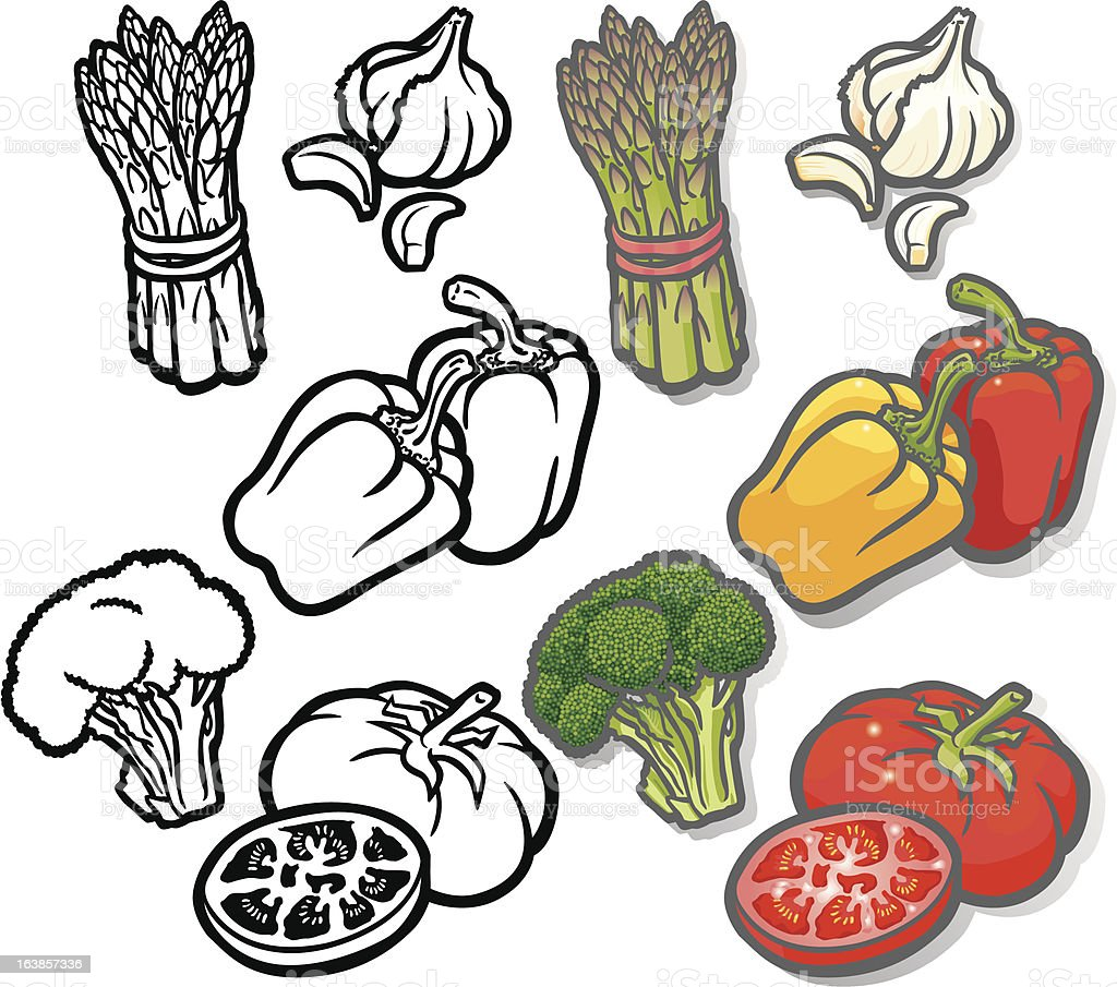 Summer Vegetable icons two royalty-free stock vector art