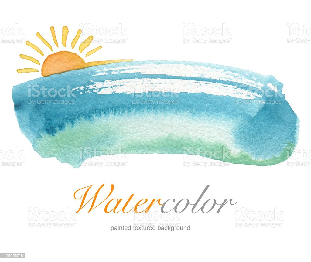 Summer watercolor hand painted background. vector art illustration