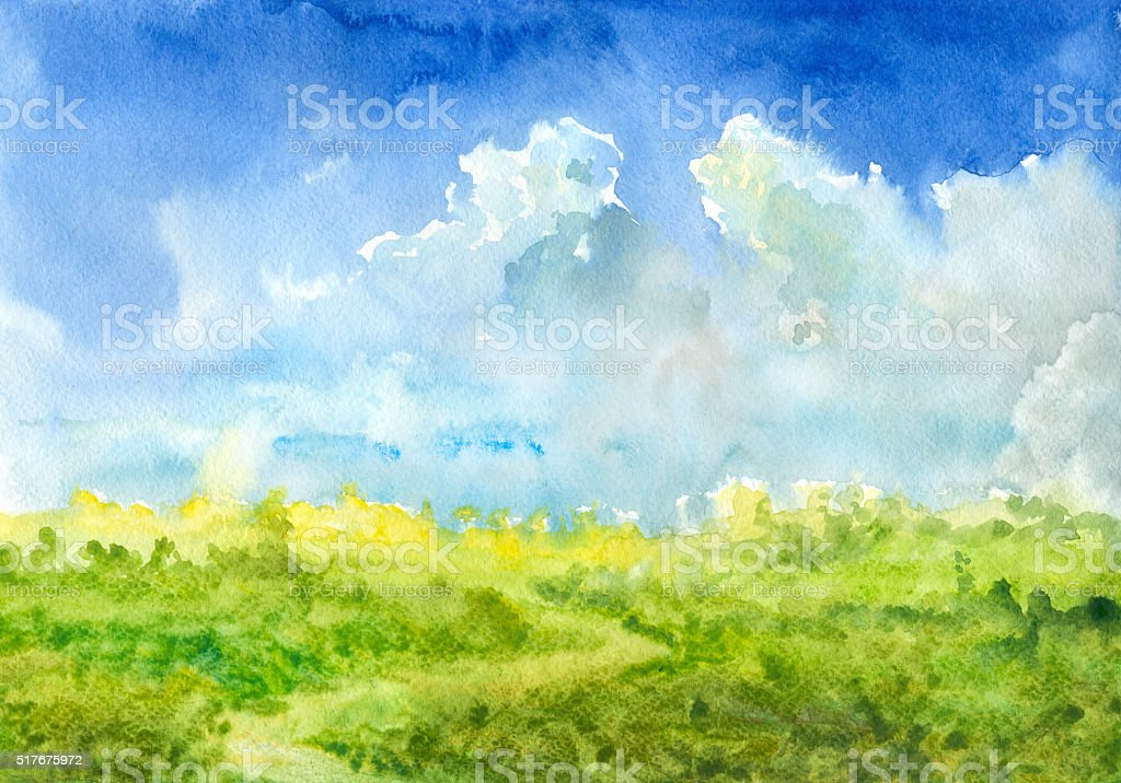 Summer watercolor landscape vector art illustration