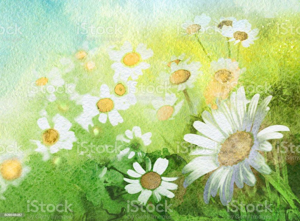 Summer, watercolor painting vector art illustration