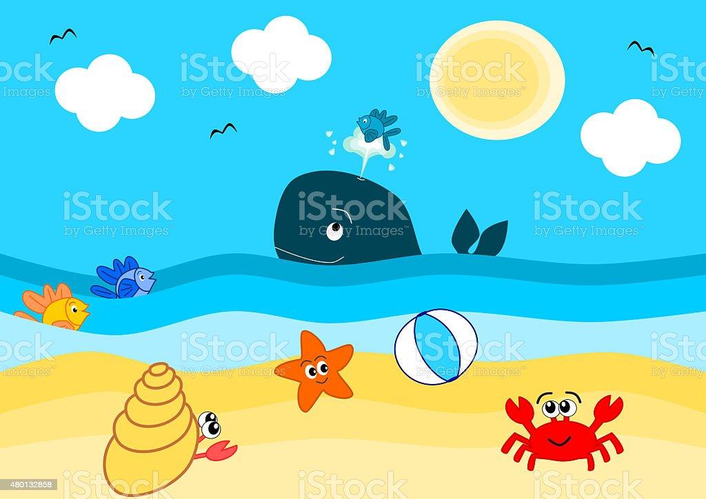 summertime on the beach funny cartoon illustration vector art illustration