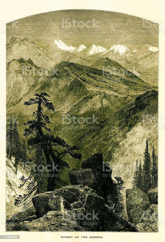 Summit in the Sierra Nevada, USA royalty-free stock vector art