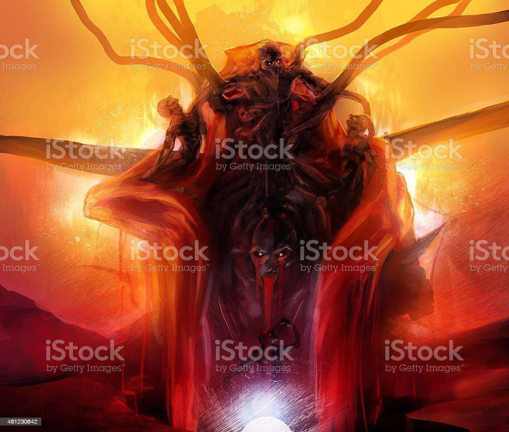 Summoned evil. vector art illustration