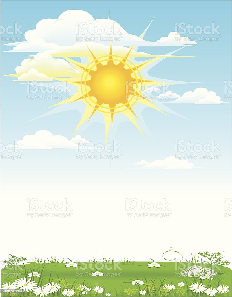 sun and clouds with grass royalty-free stock vector art
