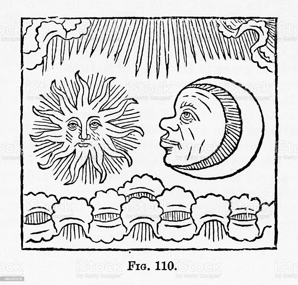 Sun and Moon, Crucifixion Christian Symbolism Engraving vector art illustration
