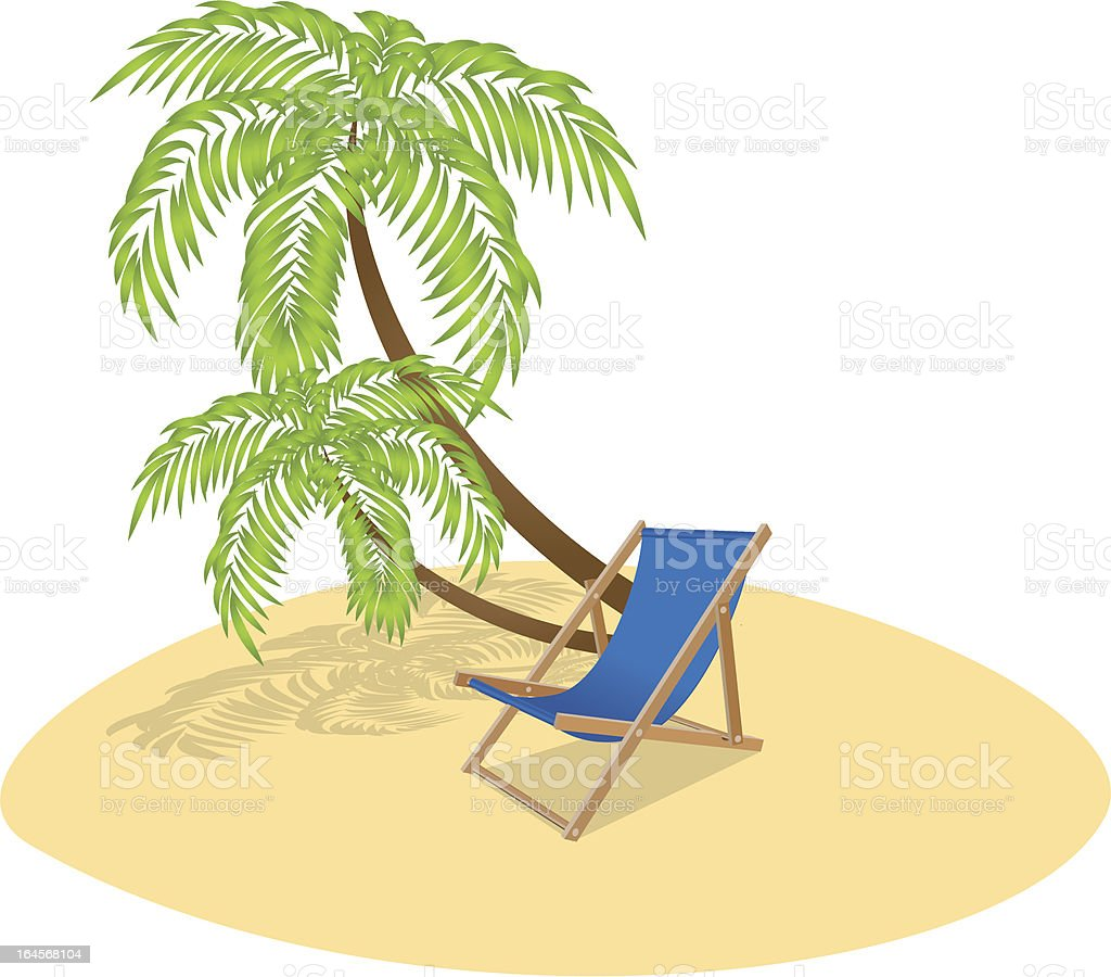 Sun Lounger and Palm Tree royalty-free stock vector art