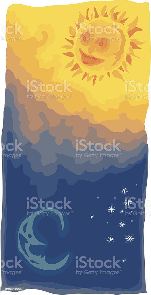 Sun & Moon vector art illustration