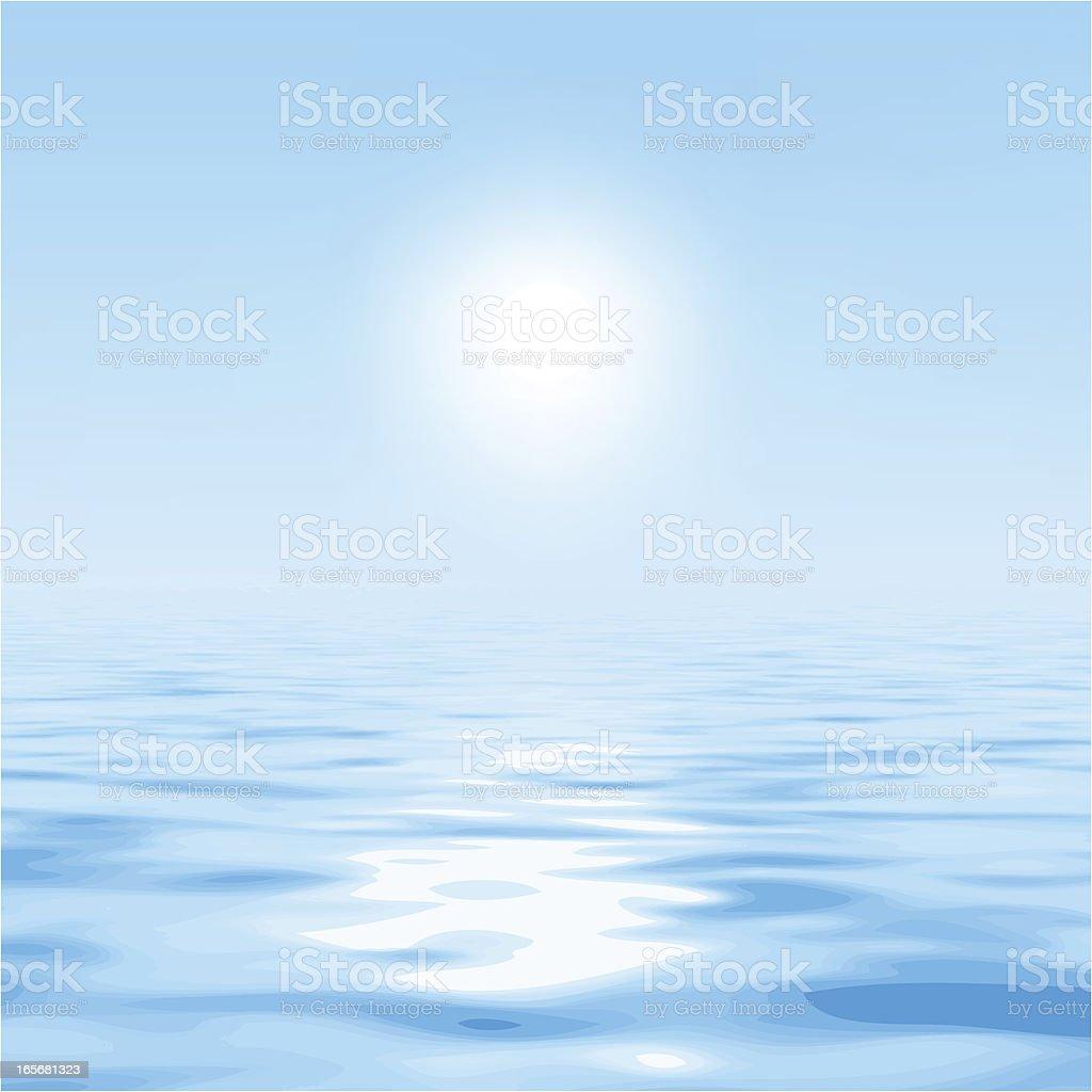sun over the water vector art illustration