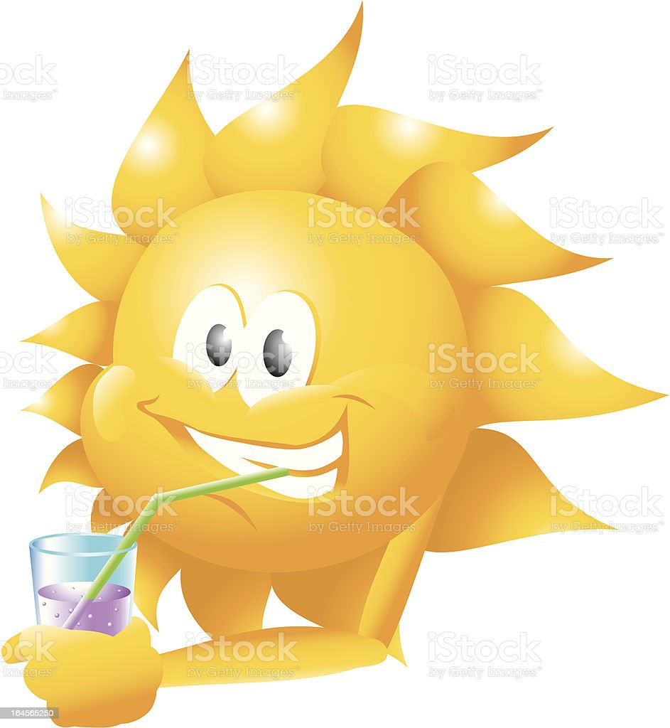 sun with drink vector art illustration