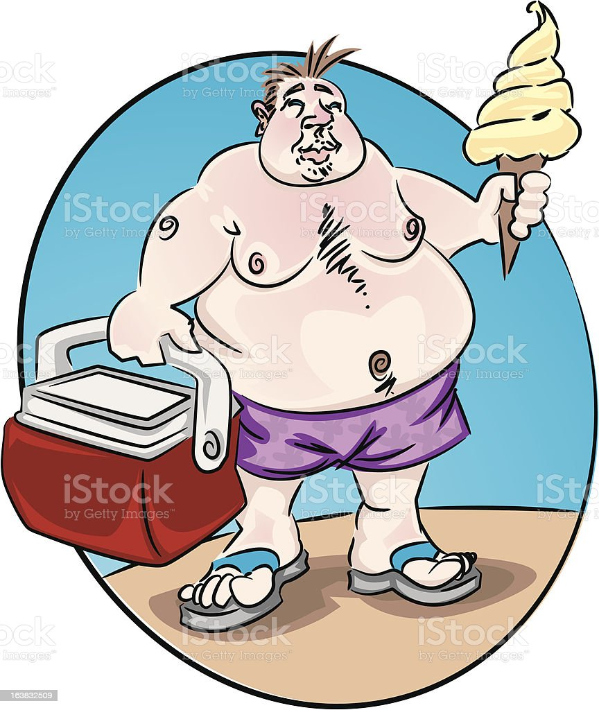 Sunburned Fat Man with Ice Cream and Cooler royalty-free stock vector art
