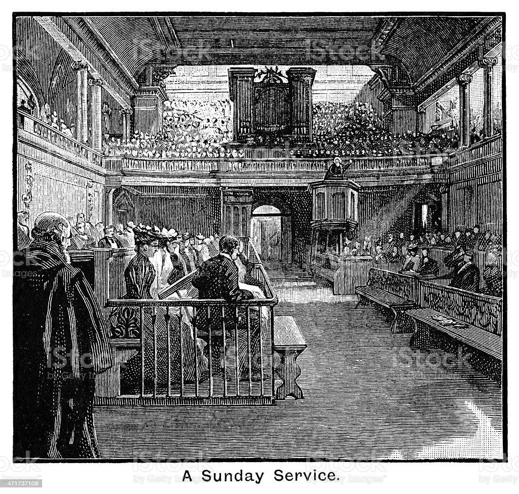 Sunday service at the Foundling Hospital vector art illustration