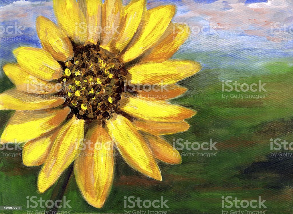 Sunflower head painting. Artist rendition with copyspace on side. royalty-free stock vector art