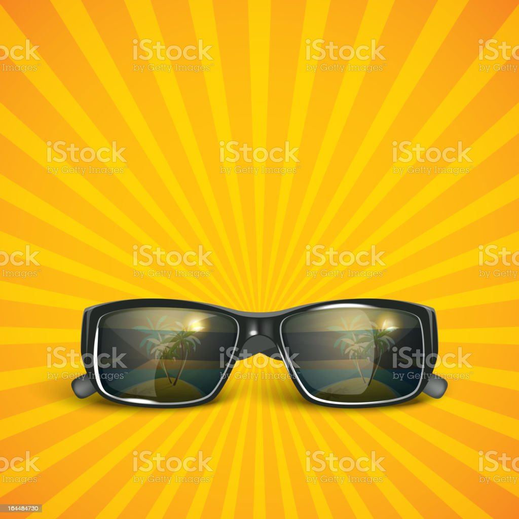 sunglasses with tropical island reflection. summer background royalty-free stock vector art