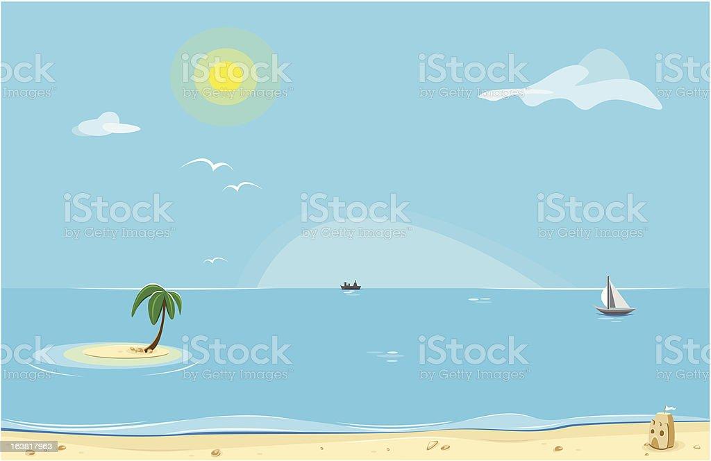 sunny beach vector art illustration