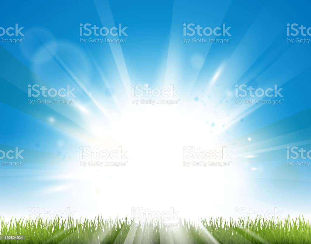 Sunny day background vector vector art illustration