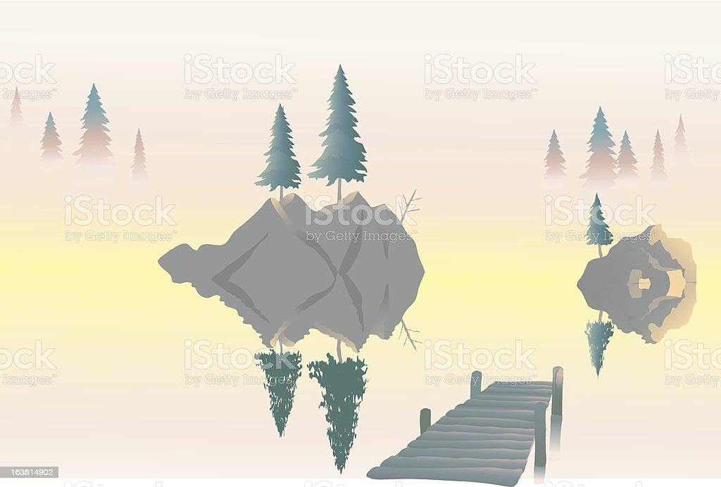 sunrise on the lake royalty-free stock vector art