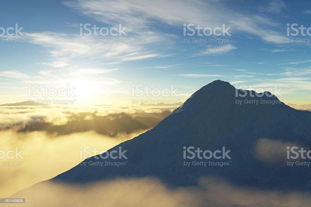 Sunrise over Mountains vector art illustration