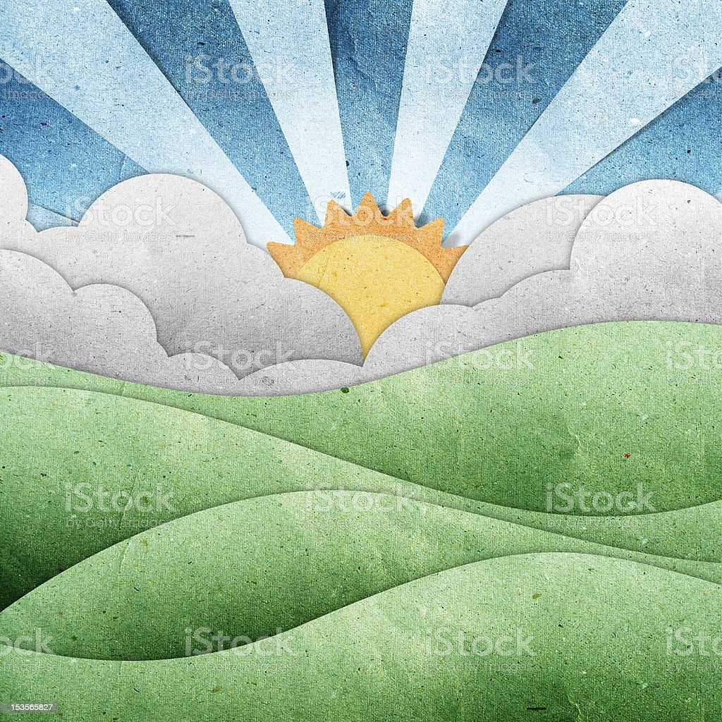 sunset and sunrise view recycled paper craft royalty-free stock vector art