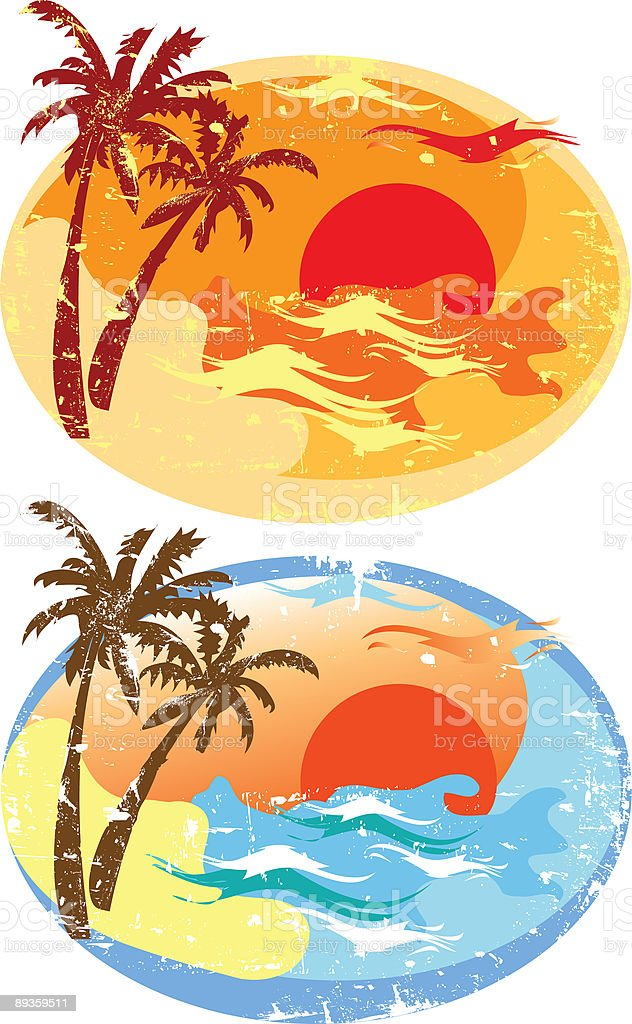 Sunset at the Beach royalty-free stock vector art