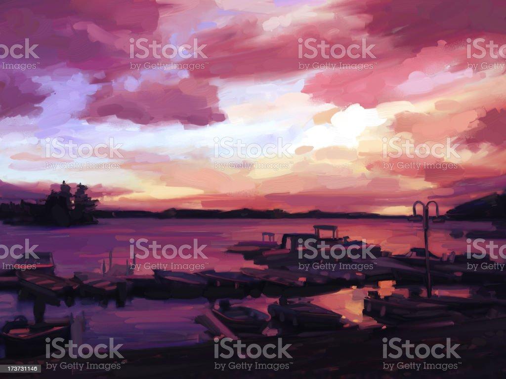 Sunset at the marina royalty-free stock vector art
