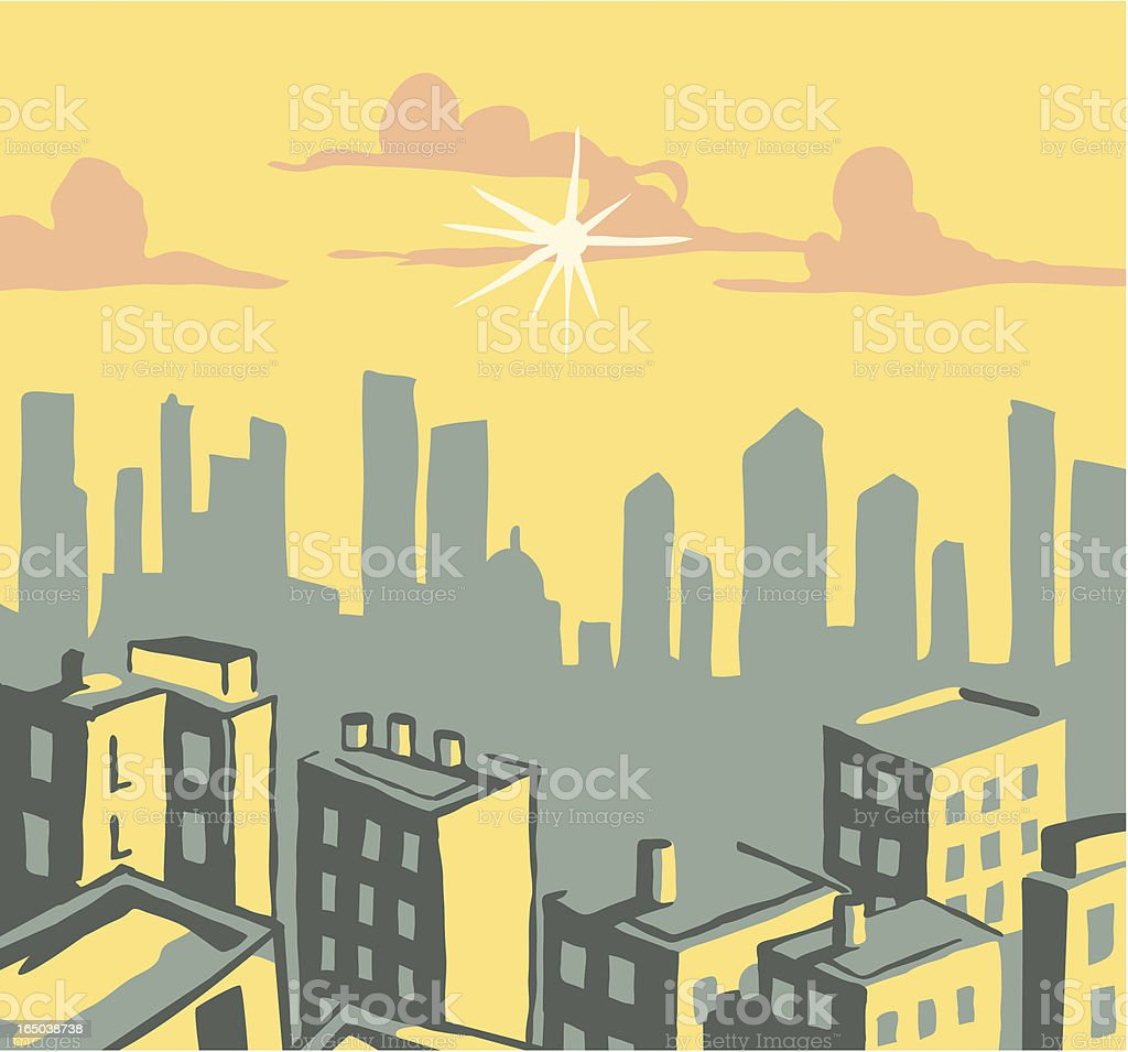 sunset city vector art illustration