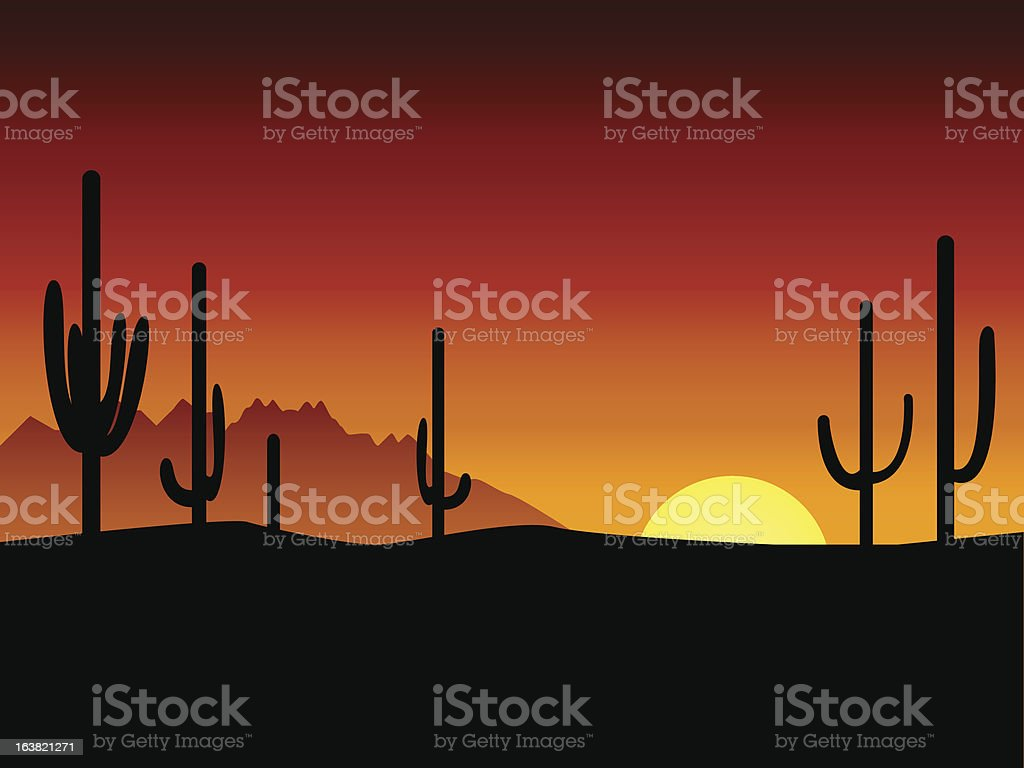 Sunset. Desert. Cactus. royalty-free stock vector art