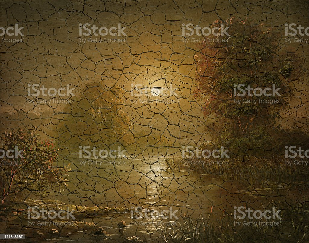 'sunset in a fog', cracked painted picture royalty-free stock vector art