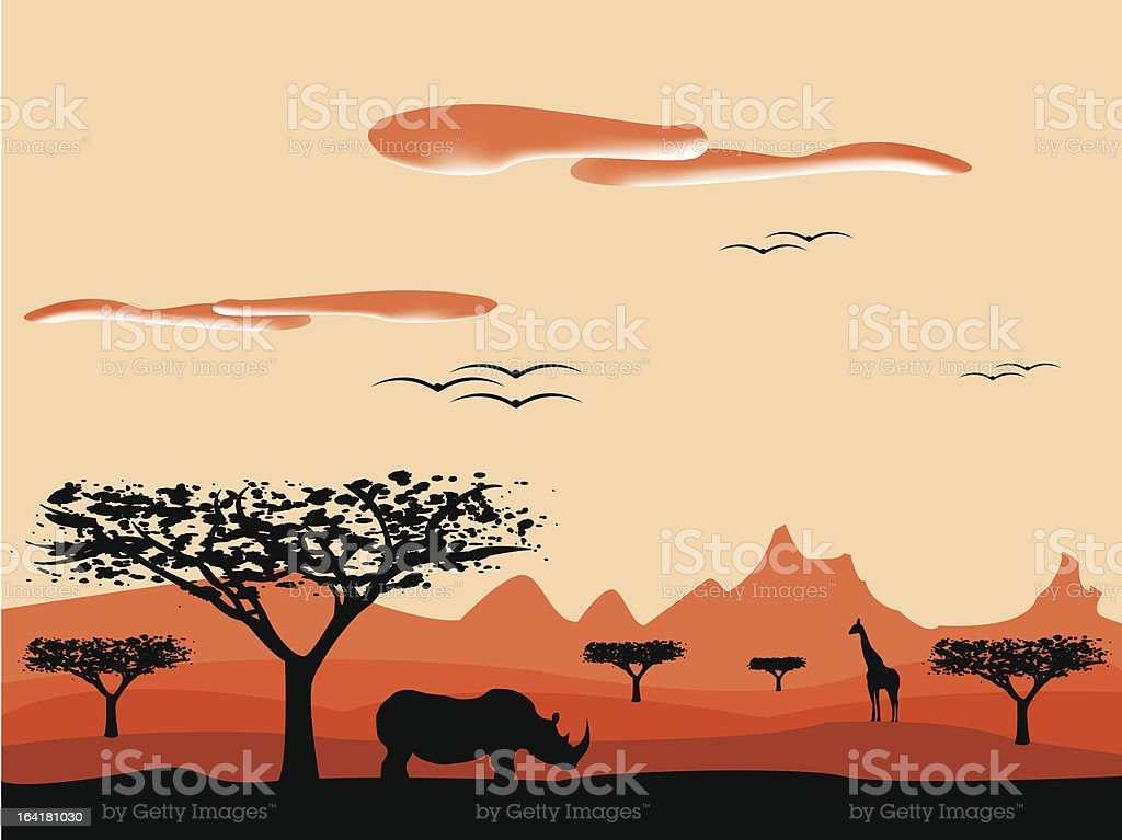 sunset in africa vector art illustration
