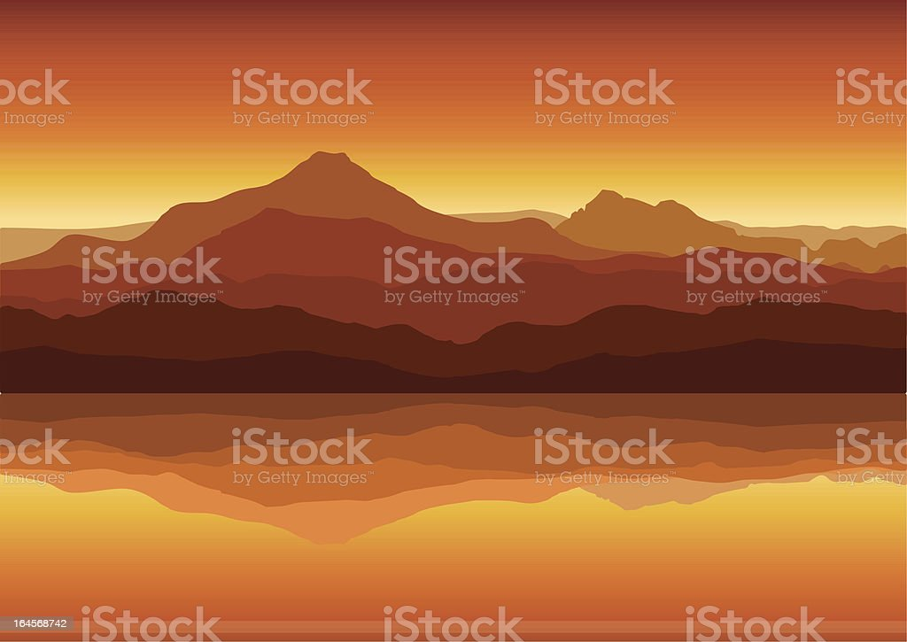 Sunset in huge mountains near lake vector art illustration