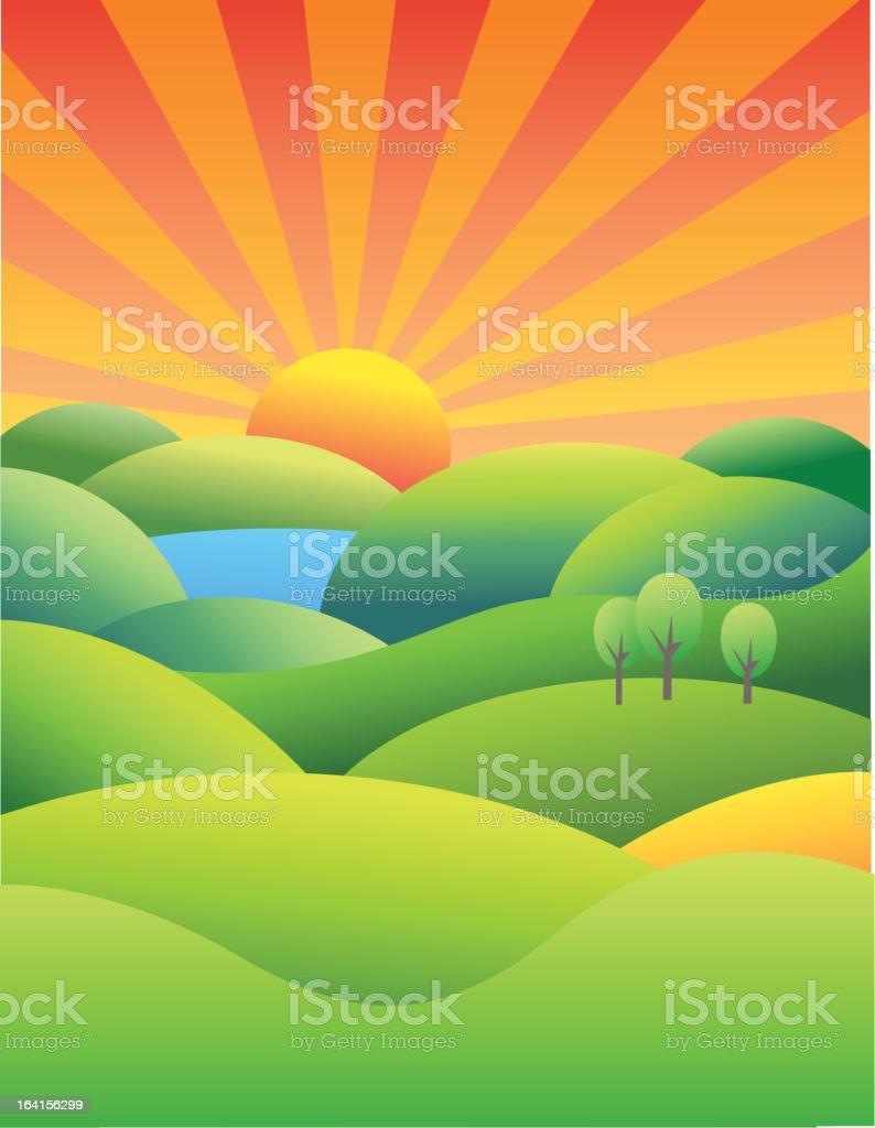 Sunset landscape royalty-free stock vector art