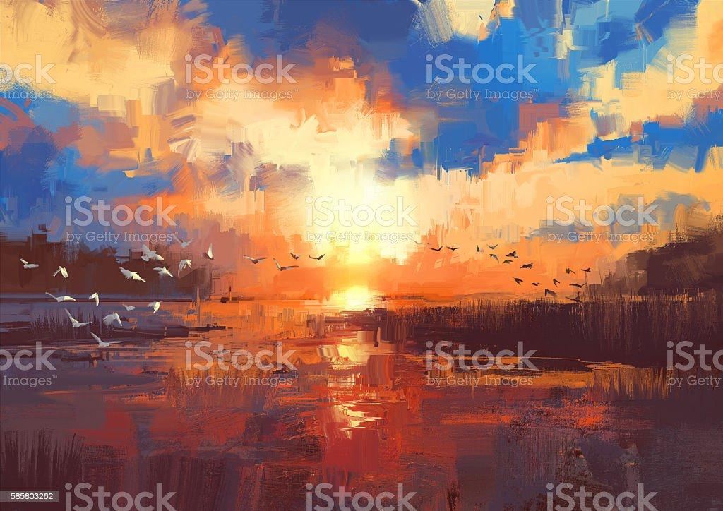 sunset on the lake,illustration vector art illustration