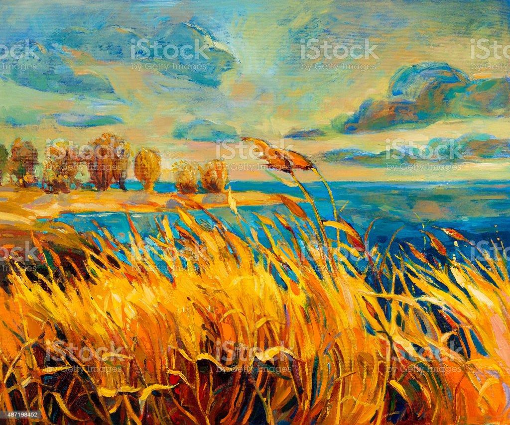 Sunset over lake vector art illustration