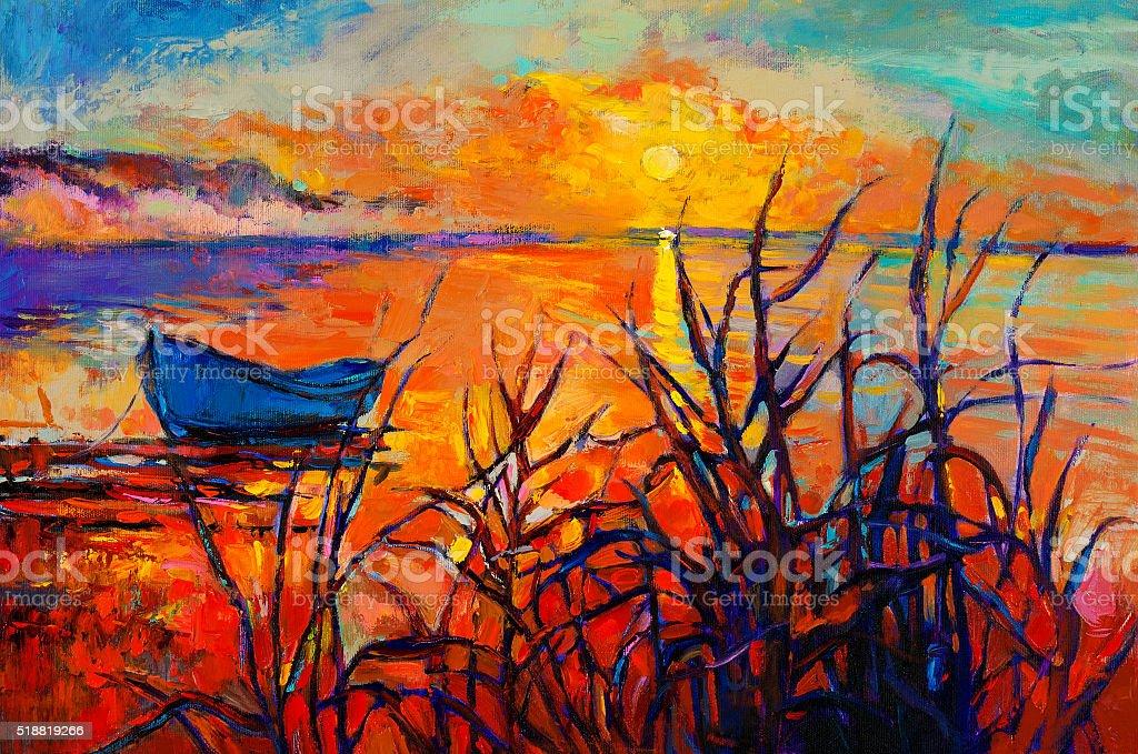 Sunset over ocean vector art illustration
