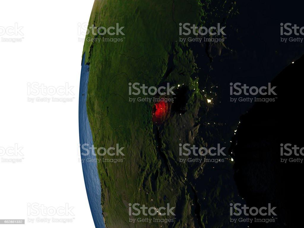 Sunset over Rwanda from space stock photo