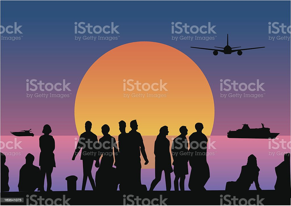 Sunset People royalty-free stock vector art