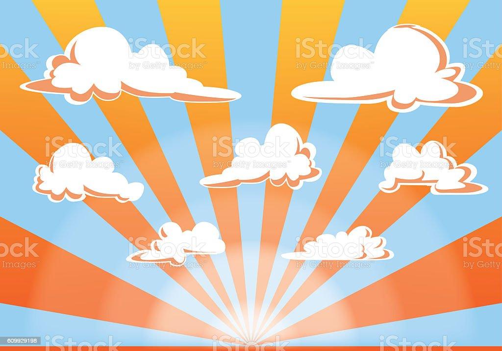 sunset sky and clouds illustration - cartoon style vector vector art illustration