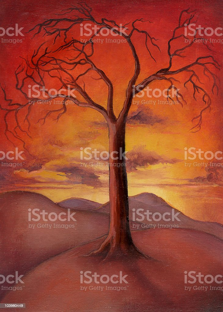Sunset tree royalty-free stock vector art
