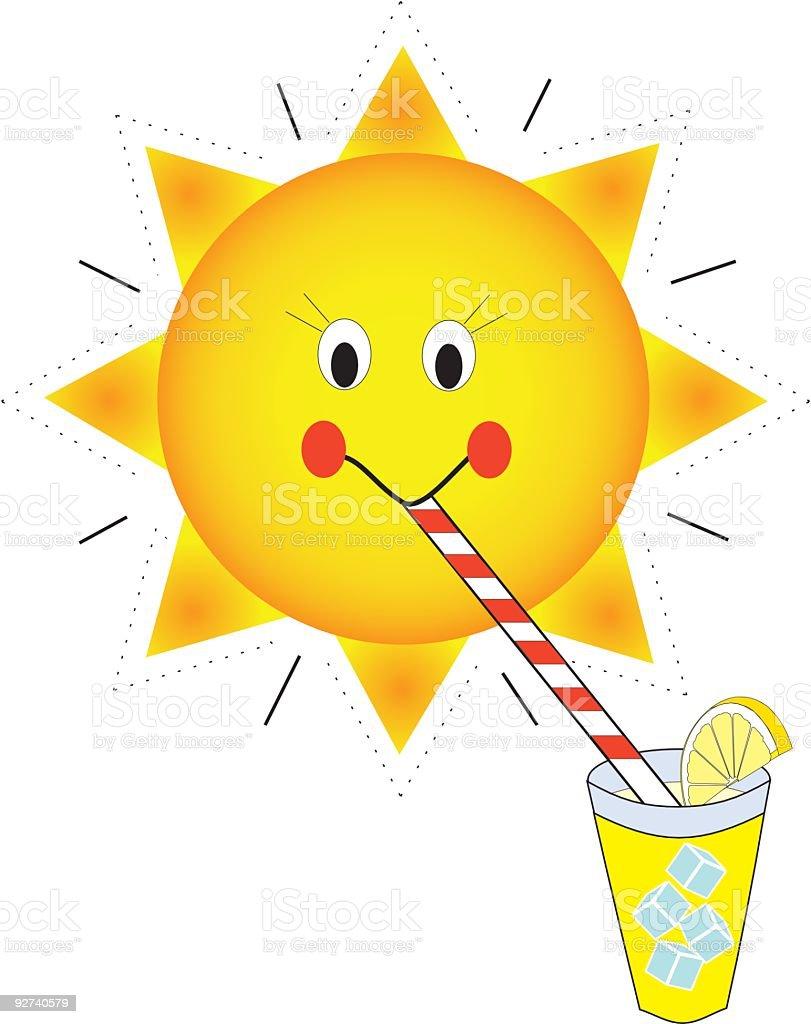 Sunshine Sipping Lemonade royalty-free stock vector art