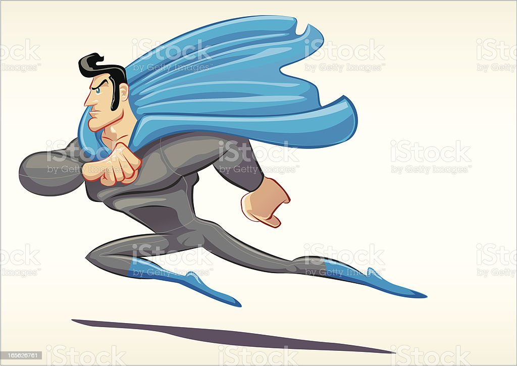 Super Crazy Blue Eyed Heroe royalty-free stock vector art