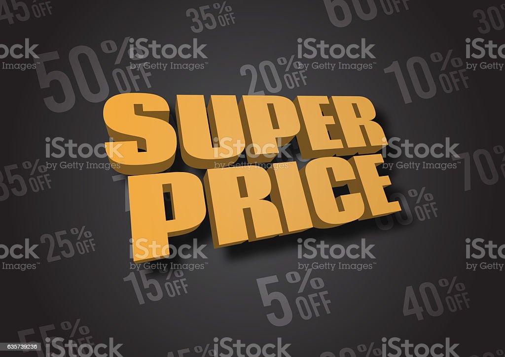 Super Price 3D illustration vector art illustration