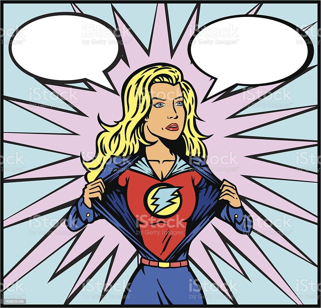Superheroine ready for action royalty-free stock vector art