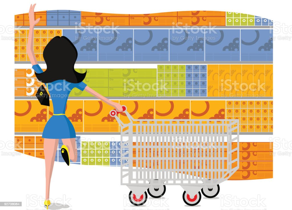 Supermarket girl shop vector art illustration