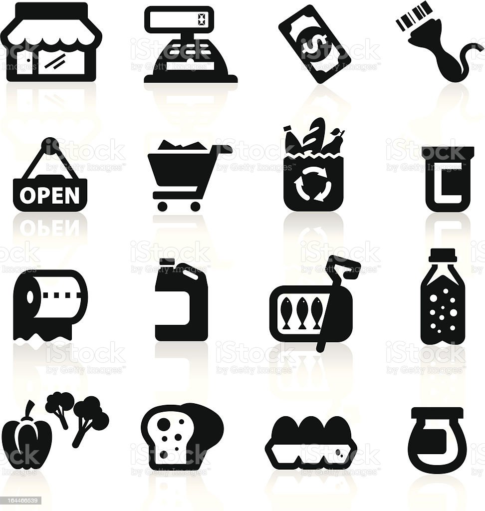 Supermarket icons set  Elegant series vector art illustration