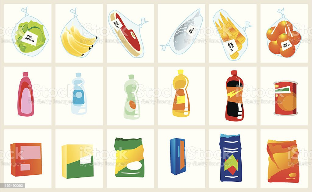 artículos de supermercado royalty-free stock vector art